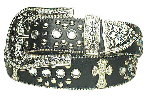 Western Cowgirl Rhinestone Rodeo Cross Religious Belt Wholesale 50121BK