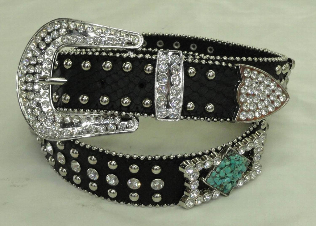 Western Cowgirl Rhinestone Turquoise Genuine Leather Belt 50134