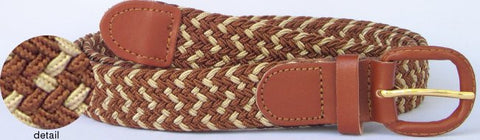 Wholesale Men's Elastic Braided Stretch Golf Belt Multi Brown Color