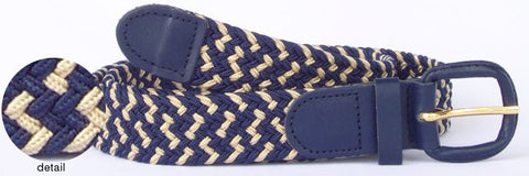 Wholesale Men's Elastic Braided Stretch Golf Belt Multi Navy Color 7002MNB