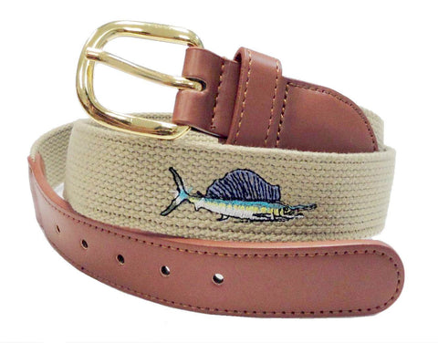Canvas Embroidery Fishing Marine leather Sail fish Belt wholeslale 8004KH