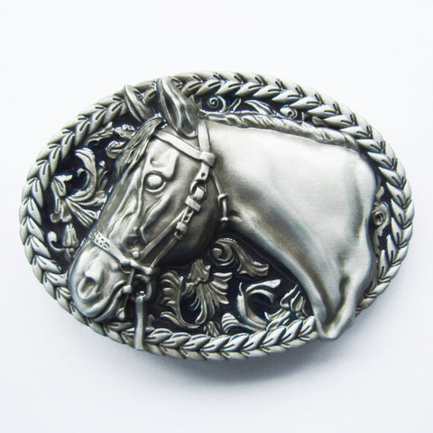 SILVER Rodeo Country Western Horse Belt Buckle 1641SIL