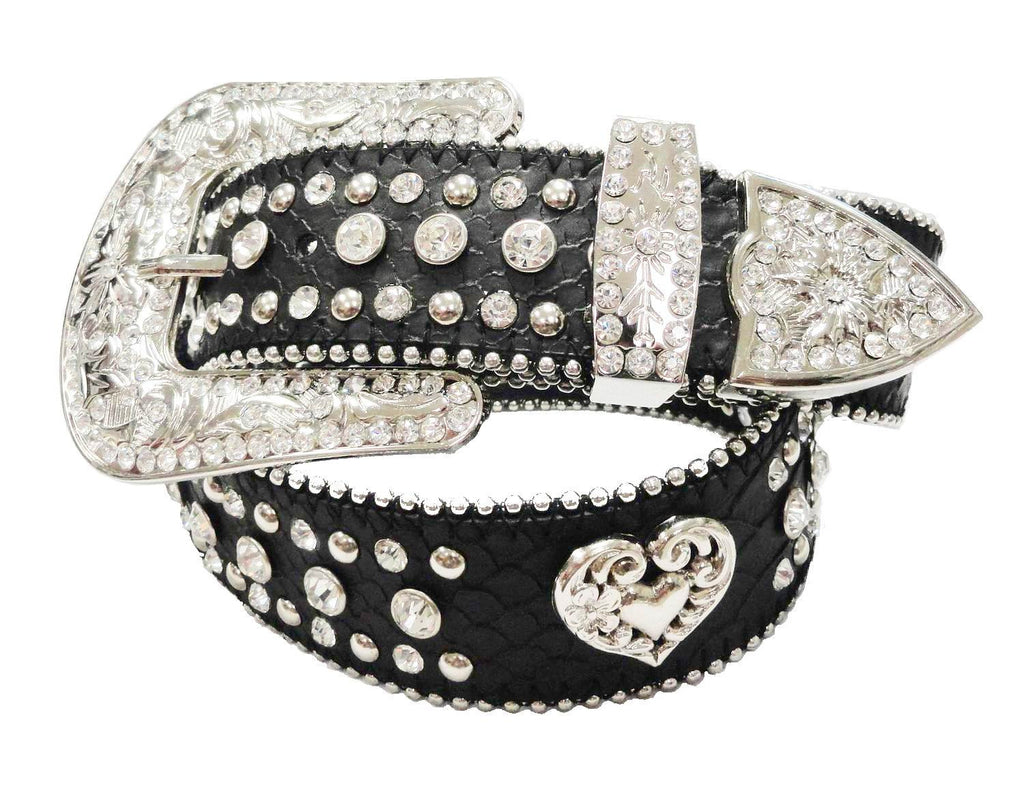 Wholesalew Western COWGIRL Antique Silver HEART RHINESTONE CONCHO Belts 50158