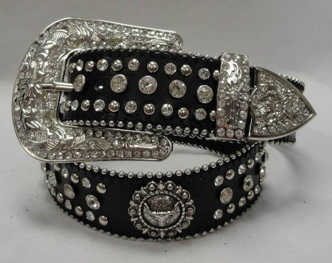 Wholesale Western RODEO Tandy Leather BULL HEAD  CONCHO Rhinestone Belts 50153