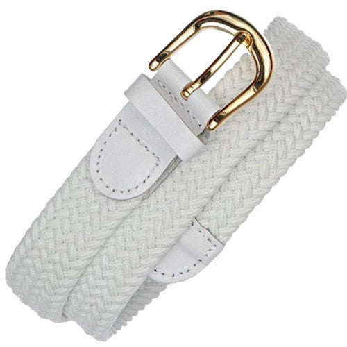 "Wholesale Men elastic Stretch belt, White color, Gold Buckle Golf Woven Elastic Genuine Leather Belt 1-1/4"" 7100WH"