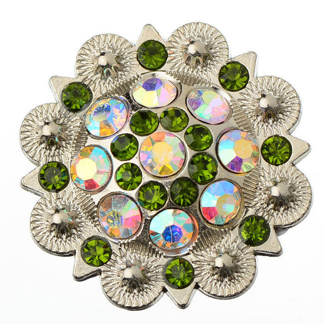 Wholesale Crystal Conchos Western Berry 6 pcs Green CH128OV