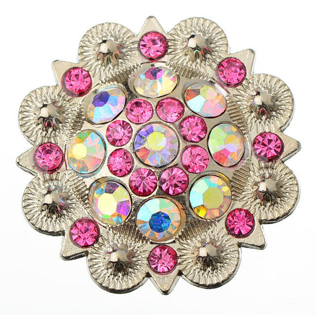 Wholesale Crystal Conchos Western Pink Berry 6 pcs  CH128ABFU