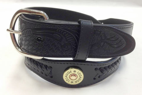 Wholesale Black cowboy belt 12 Gauge Shotgun Shell concho Leather Belt 4120BK