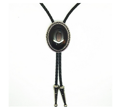 Black Genuine Agate Western Cowboy Bolo Tie Rodeo Necktie Leather Cord Pendant Necklace Semi Precious Stone
