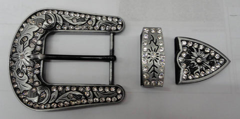 wholesale Western cowgirl rhinesotne craft supply  BuckLe set Black color buckle finish BU50121BK