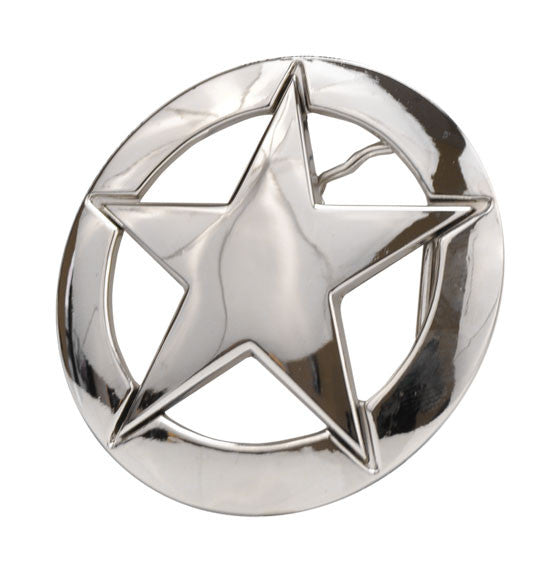 High Polish Nickle Deputy Ranger Star Badge Belt Buckle 1167