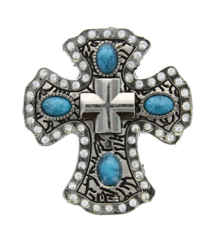 Wholesale Leather Craft supply TURQUOISE or Pink Or AB Clear Cross Concho 6 pcs CH141