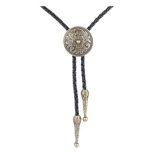 Western Cowboy Bolo Tie Rodeo Necktie Leather Cord Pendant Necklace for Men Women