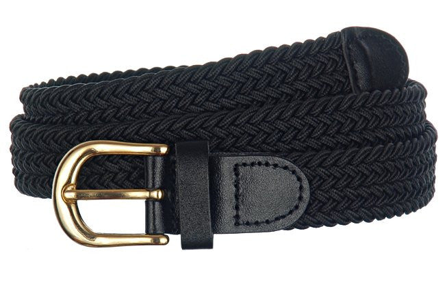 Wholesale Lady's Elastic Braided Stretch Golf Belt Black Color 6001BK