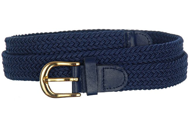 Wholesale Lady's Elastic Braided Stretch Golf Belt NAVY Color 6001NB