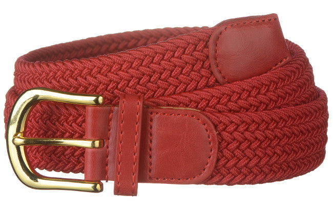Wholesale Men's Elastic Braided Stretch Golf Belt RED Color 7001RD