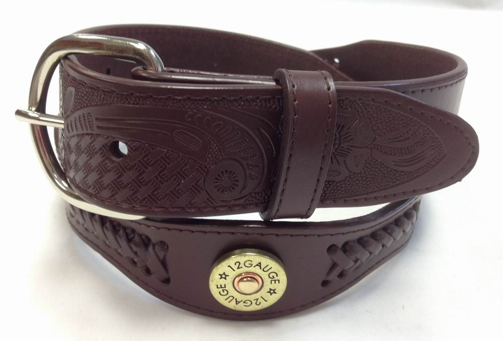 Wholesale Western Cowboy Tan color belt 12 Gauge Shotgun Shell Concho genuine leather belt 4120TN