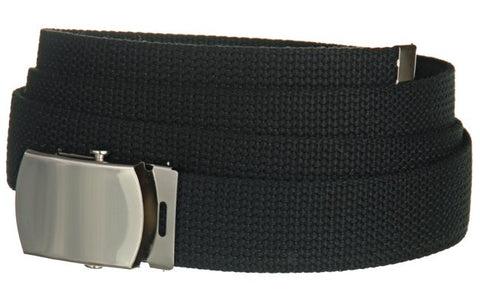 "Wholesale Military Web cotton Canvas Belt 30mm Wide Black color 50"" Long 4000BK"