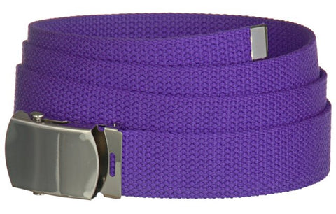 "Wholesale Military Web cotton Canvas Belt 30mm Wide PURPLE color 50"" Long 4000PP"