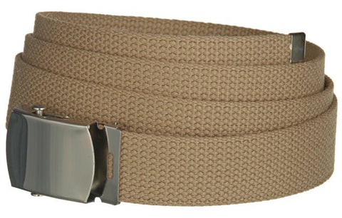 "Wholesale Military Web cotton Canvas Belt 30mm Wide Khaki color 50"" Long 4000KH"
