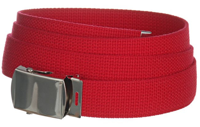 "Wholesale Military Web cotton Canvas Belt 30mm Wide RED color 50"" Long 4000RD"