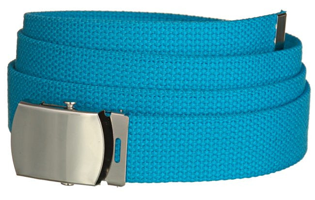 "Wholesale Military Web cotton Canvas Belt 30mm Wide TURQUOIZe color 56"" Long 4000TQ"