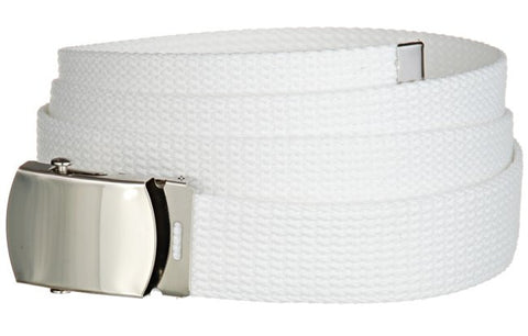 "Wholesale Military Web cotton Canvas Belt 30mm Wide White color 50"" Long 4000WH"