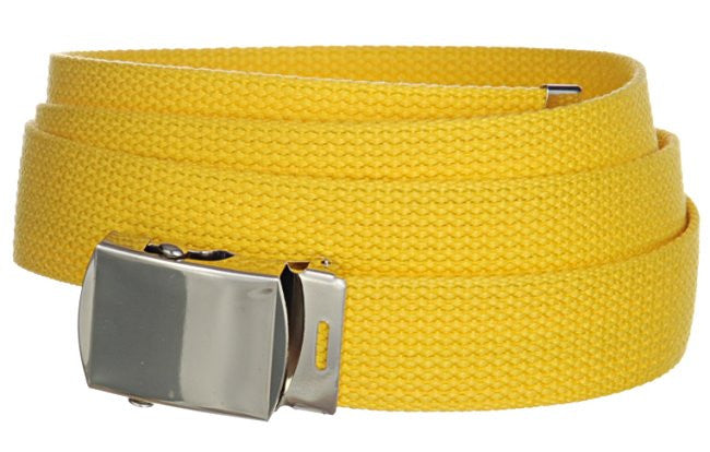 "Wholesale Military Web cotton Canvas Belt 30mm Wide Yellow color 50"" Long 4000YL"