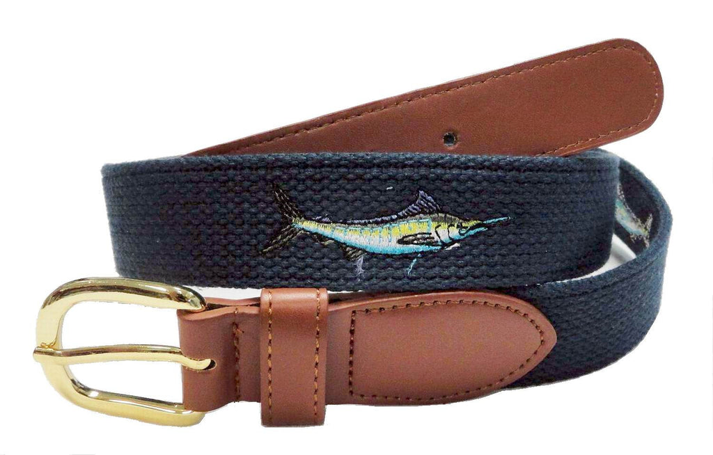 Canvas Embroidery Fishing Marine leather Sailfish Belt wholeslale 8004NB