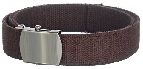 "Wholesale Military Web cotton Canvas Belt 1-1/4"" Wide BROWN color 50"" Long 4000BN"