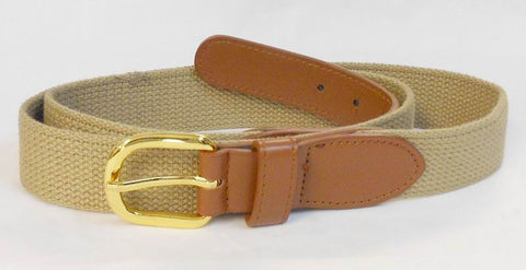 Web belt with leather tabs for boating