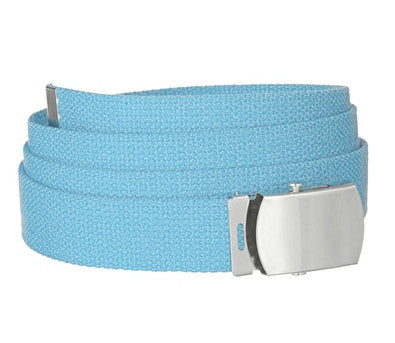"Wholesale Military Web cotton Canvas Belt 30mm Wide Baby Blue color 50"" Long 4000BB"