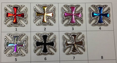 Wholesale Western Maltese CROSS Crystal conchos 6 pcs CH169