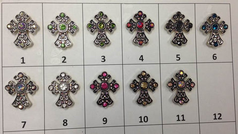 Wholesale Western Rodeo Cowgirl Rhinestone Cross Conchos 6 pcs CH166