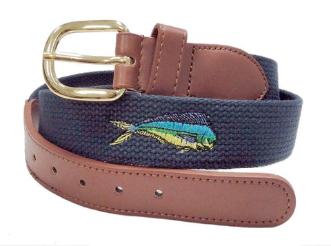 Canvas Embroidery Fishing Marine leather Dolphin Belt wholeslale 8003NB