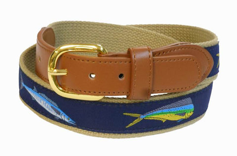 Dolphin Marlin Sports Fishing Leather Belt Wholesale 9802KH