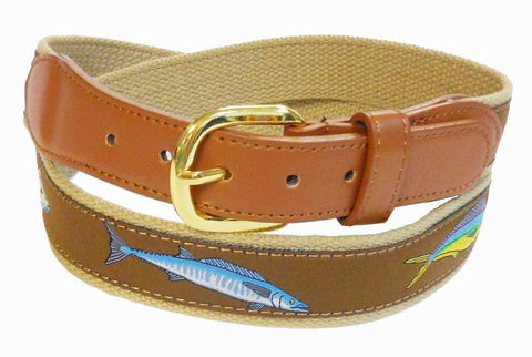 Dolphin Marlin Sports Fishing Leather Belt Wholesale 9802KH2