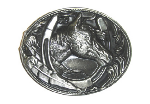 Wholesale western Rodeo buckles, Black Rodeo Horse Belt Buckle 1647