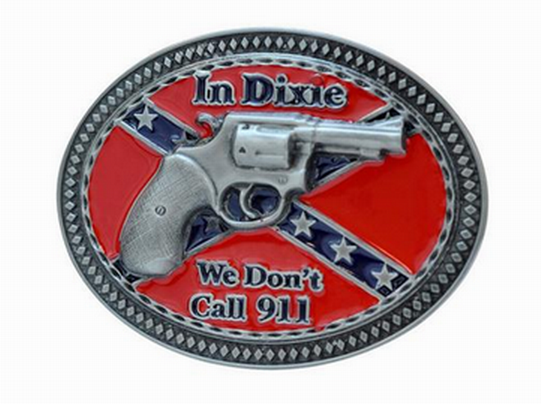 In Dixie We Don't Call 911 Gun Belt Buckle Southern Pride Confederate Rebel 1271
