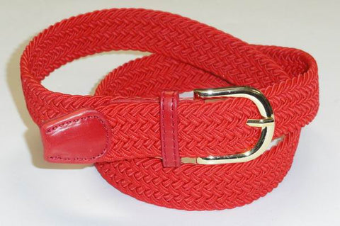 Wholesale Lady's Elastic Braided Stretch Golf Belt RED Color 6001RD