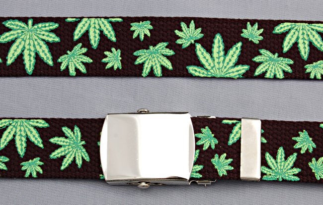 "Wholesale Military Web cotton Canvas BELT STRAP ONLY 30mm Wide POT LEAF BLACK color 50"" Long 4000PMBK"