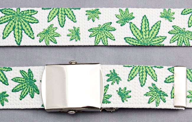 "Wholesale Military Web cotton Canvas BELT STRAP ONLY 30mm Wide POT LEAF WHITE color 50"" Long 4000PMWH"