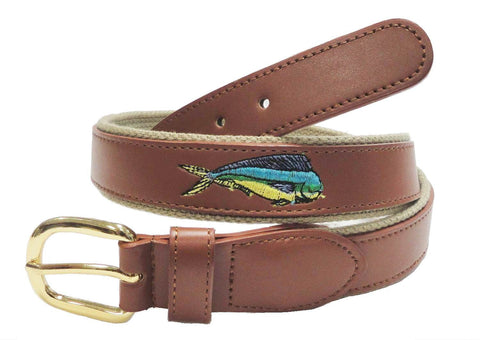 Embroidery Fishing Marine Leather Embossed Dolphin Belt wholeslale 8802