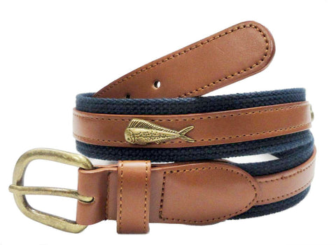 Fishing Marine Canvass Leather Embossed Dolphin Belt wholeslale 7701NB