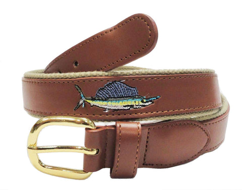 Embroidery Fishing Marine Leather Embossed Sailfish Belt wholeslale 8804