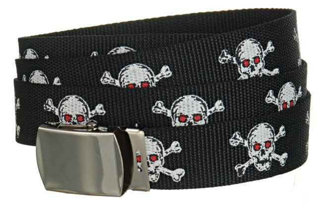"Wholesale Military Web cotton Canvas Belt STRAP ONLY 30mm Wide SKULL RED EYE color 50"" Long 4000PSKR"