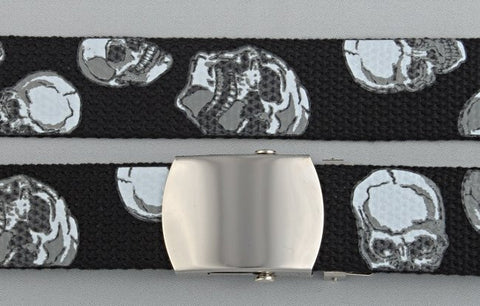 "Wholesale Military Web cotton Canvas Belt STRAP ONLY 30mm Wide SKULL BK color 50"" Long 4000PSKBK"
