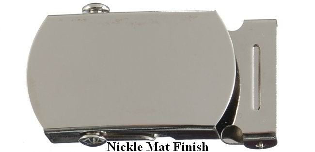 "Wholesale Package of 12 plain nickel Gold or Nickle matte steel military-style buckles and tips for 1-1/4"" web belts"