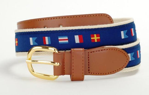 Men's Nautical boating leather fabric belts