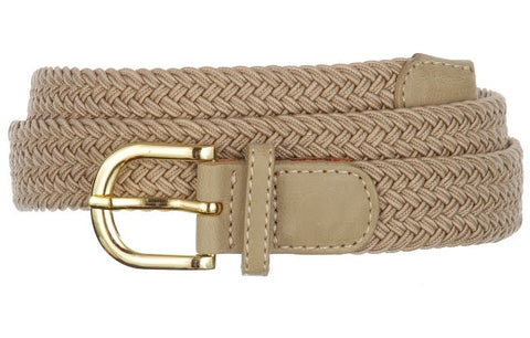 Wholesale Lady's Elastic Braided Stretch Golf Belt BEIGE Color 6001BG
